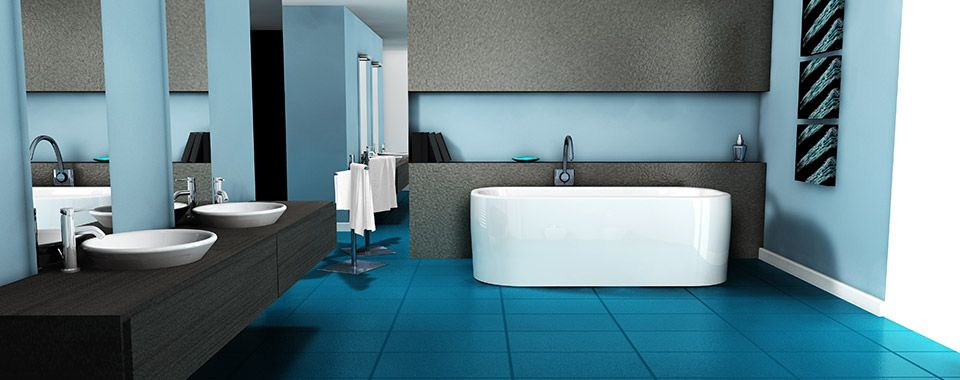 bathroom with teal tile